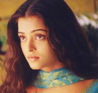 Aishwarya Rai young picture with long wavy hair and long side bangs