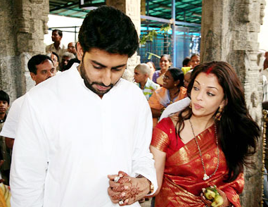 Aishwarya Rai Bachchan with husband Abhishek Bachchan wedding image